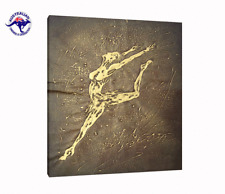 'THE DANCER' GOLD ABSTRACT OIL PAINTING FRAMED BY 100% AUSTRALIAN MADE FRAME