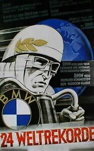 """print vintage 1934 BMW german poster cafe racer art  for glass frame 36"""" x 24"""""""