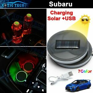 2x Multi-Color LED Cup Holder Pad Mat Atmosphere Lamp For Subaru Impreza Outback
