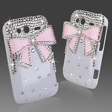 Cool De Lujo 3d Bling Blanco Rosa Diamante Protector Funda 4 Htc Wildfire S