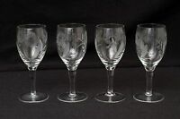 Champagne Wine Crystal Etched Glass Clear Hibiscus Flower Stemmed Lot Set 4