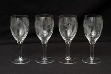 Champagne Wine Crystal Glass Clear Hibiscus Flower Etched Stemmed lot set 4