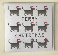 Dachshund Christmas Greeting Card Sausage Weiner Dog Handmade 'All the Santa's'