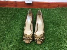 Hobbs Size 7 Bronze Striped Slip On Peep Toe Court Shoes Bow Detail