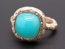 14k Yellow Gold Cabochon Cut Blue Chalcedony Dome Band Ring Size 7