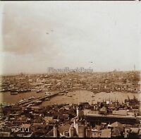 Costantinopoli Galata Panorama Turchia Placca Da Lente Stereo Vintage Ca 1905