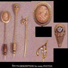 (3) Antique 10K Gold Stickpins Cameo, Diamond, Pearl