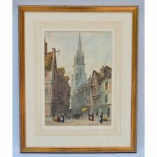 Paul Braddon (1864-1938), English Watercolour of a European City & Cathedral