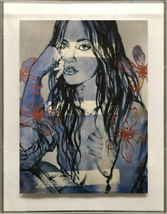 """DAVID BROMLEY """" BLUE NUDE - FLOWERS """" STUNNING LIMITED EDITION PRINT"""