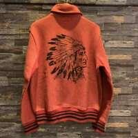 Vintage RRL Ralph Lauren INDIAN HEAD SHAWL SNAP SWEATSHIRT Size S Cardigan Used