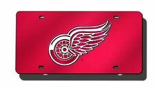 Detroit Red Wings RED Deluxe Laser Cut Acrylic Mirrored License Plate Tag Hockey