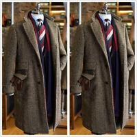 Brown Herringbone Men's Coat Long Vintage Blazer Formal Business Groom Tailored