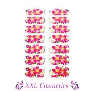 14 x Nagelfolie Nail Art Stripes Folie Blumen Pink / Gelb + Feile #NW-9