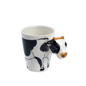 Ceramic 3D Novelty Animal Handle Coffee Tea Mug - Cow