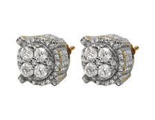 10K Yellow Gold 3D 4 Pronged Round Genuine Diamond Cluster Stud Earrings 2.5ct