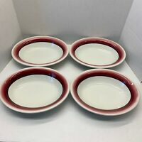 """4 MAYER China Red Fade Out Hand Painted 10 1/4"""" X 8"""" Oval Bowls  1954 Vintage"""