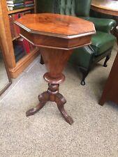 Nice Late Victorian Work Box Sewing Box Trumpet Work Box