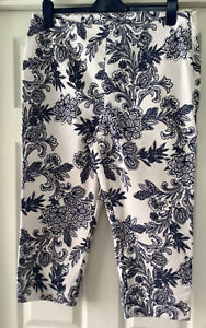 M&S Cropped Summer Trousers 16 Ivory Navy Floral Vgc Side Zip L21 New No Tags