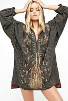 Free People Embroidered Stripe Pullover Jacket Hoodie Tunic Zip Up OB569496