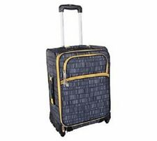 "Lotta Jansdotter 26"" Spinner Checked Suitcase Linear Grey NWT"