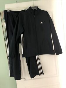 ADIDAS WINDBREAKER TRACK SUIT Women's Size Large Navy And White  Preownef