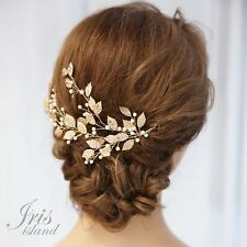 Crystal Rhinestone Leaf Bridal Hair Pearl Headpiece Wedding Accessory 03748 Gold