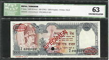 Nepal 1000 Rupees P36as UNC - SPECIMEN with Oval TDLR - Certified ICG63