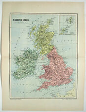 British Isles & Ireland: Original 1895 Map by W & A.K Johnston. Scotland Wales