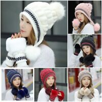Women Winter Beanie Hat and Gloves Set Warm Knitted Thicken Hat Cap Xmas Gift