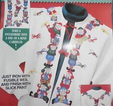SANTA's ELVES Christmas Cardigan Sweatshirt Applique no sew FABRIC Daisy Kingdom