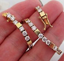 """Vintage 14K Yellow Gold 42 CZ Tennis Bracelet JJJ 7"""" 9.03 Grams"""