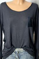 benetton Shirt Gr. 38-40 dunkel-grau Blusen Damen Langarmshirt/Shirt