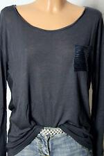 benetton Shirt Gr. 38-40 dunkel-grau Blusen Langarmshirt/Shirt