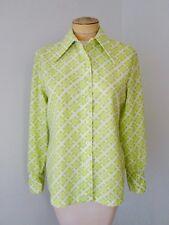 Vgc Vtg 70s Mod Lime Green Geometric Grid Silky Polyester Blouse Disco Top M