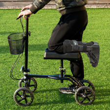 Steerable Foldable Knee Walker Scooter Turning Brake Basket Drive Cart Aid New