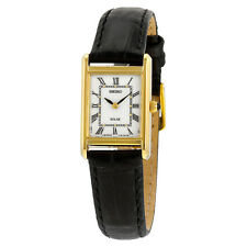 Seiko Solar Silver Dial Black Leather Ladies Watch SUP250