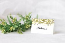 10 Personalised Christmas place card table names GOLD GLITTER CONFETTI Xmas