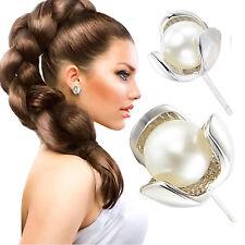 1Pair Fashion Women 925 Sterling Silver Clover Freshwater Pearl Ear Stud Earring