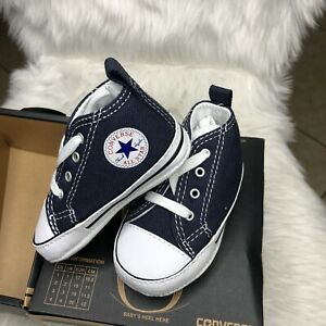 CONVERSE NEWBORN CRIB BOOTIES NAVY 88865 FIRST ALL STAR BABY SHOES SZ 2
