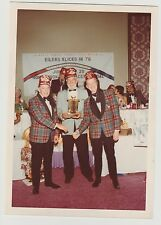 Vintage 70s PHOTO Men Shriners In Fez Hats & Plaid Jackets w/ Trophy At Event