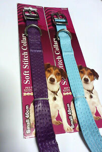 Dog Collar Small Soft Stitch Faux Leather Medium Silver Metallic Pet Basics