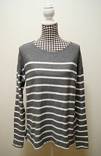 J.CREW TOP GREY WHITE STRIPED SWEATER KNIT TOP, Sz 12,14 US M (#51A)