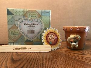 Calico Kittens CATNIP PLANTER Kitty Cat Figurine NOS