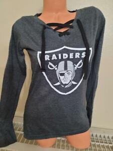 "11001 Womens LAS VEGAS RAIDERS ""Laces"" Long Sleeve Football Jersey Shirt BLACK"