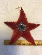 6� Antique Chenile Christmas Star Ornament Red