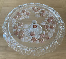 Walther Glass Elegant Cake Plate Stand with glass Pedestal Rose flowers New