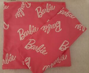 """Pair Barbie Doll Pink and White Cushion Covers 16"""" x16"""" with Plain Pink Back"""