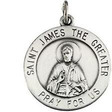 "MRT St James The Great Sterling Silver Medal Pendant 3/4"" w Chain & Boxed Gift"