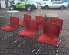 6 Rare Ikea Retro Bernhard Chairs,chrome Leg Red Fabric.Furniture Showroom Kent,