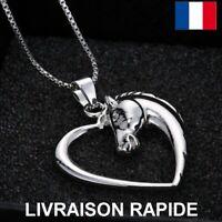 Collier Pendentif Cheval Coeur Femme Fille Licorne Cadeau Bijoux Anniversaire